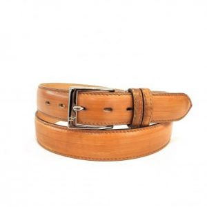 Cintura in Pelle Arancio Striato Made in Italy