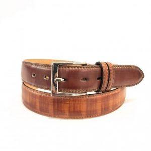 Cintura Colore Marrone Striato Made in Italy