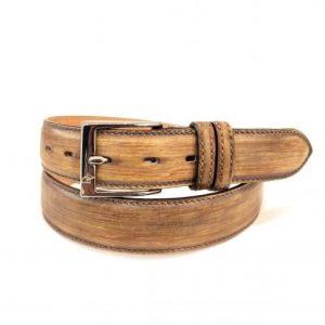 Cintura in Pelle Marrone Striato Made in Italy