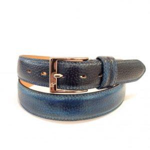 Cintura in Pelle Stampata Blu