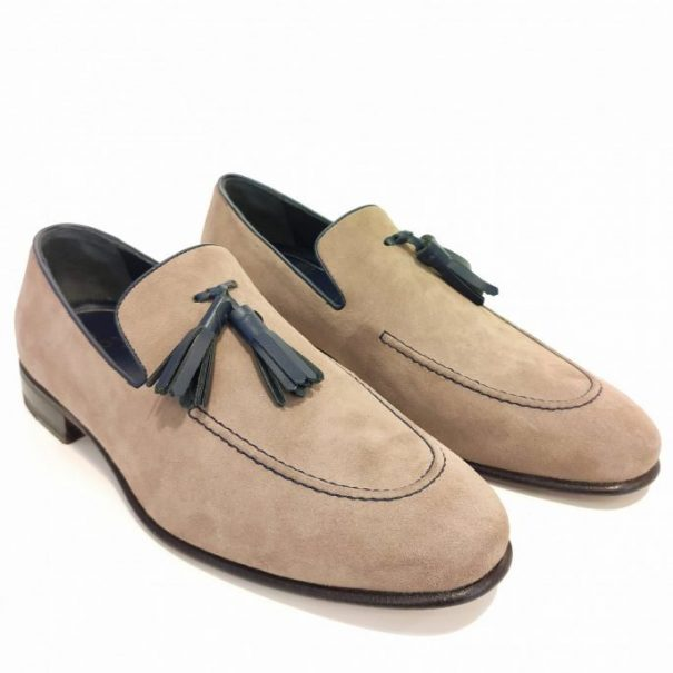 Suede Loafer with Blue Tassels