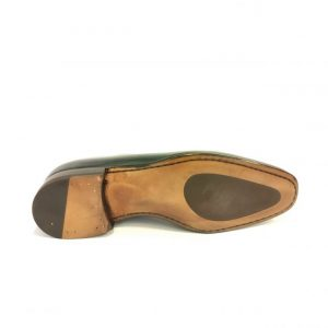 Loafer leather sole with rubber insert
