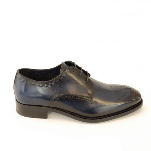 Universale Derby Shoes Ocean Blue Color Handmade in Italy